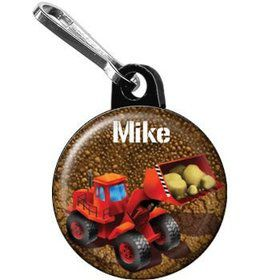 Construction - Loader Personalized Mini Zipper Pull (each)