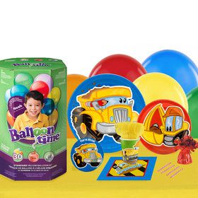 Construction Pals 16 Guest Kit with Tableware and Helium Kit