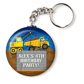 "Construction Party Personalized 2.25"" Key Chain (Each)"
