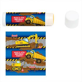 Construction Party Personalized Lip Balm (12 Pack)