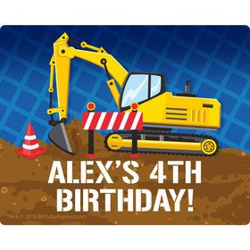 Construction Party Personalized Rectangular Stickers (Sheet of 15)