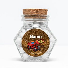 """Construction Personalized 3"""" Glass Hexagon Jars (Set of 12)"""