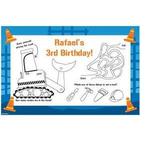 Construction Personalized Activity Mats (8-pack)