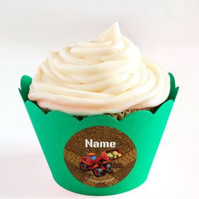 Construction Personalized Cupcake Wrappers (Set of 24)