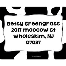 Cow Personalized Address Labels (Sheet of 15)