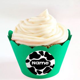 Cow Personalized Cupcake Wrappers (Set of 24)