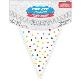 Create Your Own Rainbow Polka Dots Pennant Banner