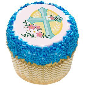 "Cross With Flowers 2"" Edible Cupcake Topper (12 Images)"