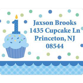 Cupcake 1st Birthday Boy Personalized Address Label(Sheet Of 15)