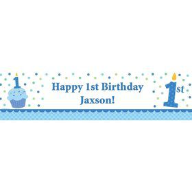 Cupcake 1st Birthday Boy Personalized Banner (each)