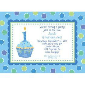 Cupcake 1st Birthday Boy Personalized Invitation (each)