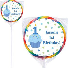 Cupcake 1st Birthday Boy Personalized Lollipop (PACK OF 12)