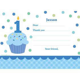 Cupcake 1st Birthday Boy Personalized Thank You Note (each)