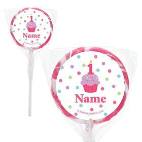 "Cupcake 1st Birthday Girl Personalized 2"" Lollipops (20 Pack)"