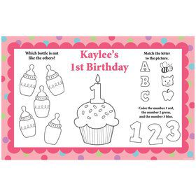 Cupcake 1st Birthday Girl Personalized Activity Mat (8 pack)