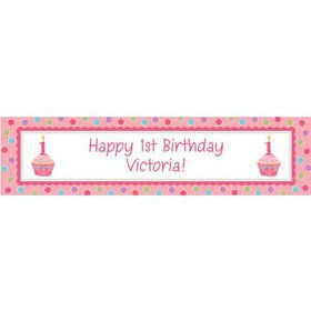 Cupcake 1st Birthday Girl Personalized Banner (Each)