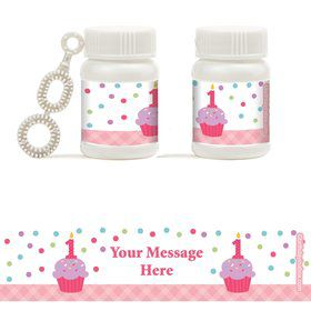 Cupcake 1st Birthday Girl Personalized Bubbles (18 Pack)