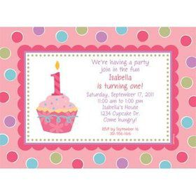 Cupcake 1st Birthday Girl Personalized Invitation (each)