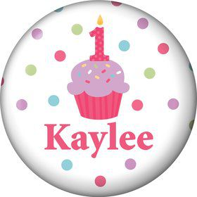 Cupcake 1st Birthday Girl Personalized Mini Button (each)
