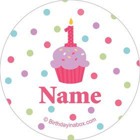 Cupcake 1st Birthday Girl Personalized Mini Stickers (Sheet of 24)