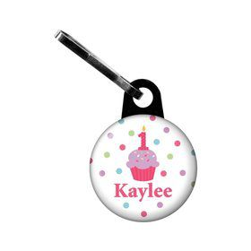 Cupcake 1st Birthday Girl Personalized Mini zipper Pull (each)