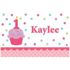 Cupcake 1st Birthday Girl Personalized Placemat (each)