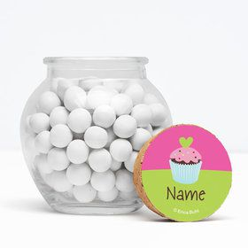 "Cupcake Birthday Personalized 3"" Glass Sphere Jars (Set of 12)"