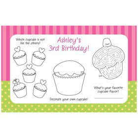 Cupcake Birthday Personalized Activity Mats (8-Pack)