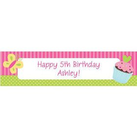 Cupcake Birthday Personalized Banner (each)