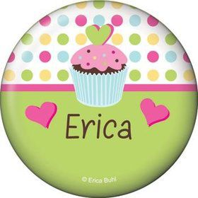 Cupcake Birthday Personalized Button (each)