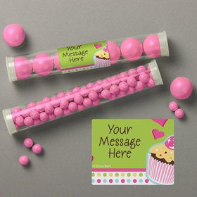 Cupcake Birthday Personalized Candy Tubes (12 Count)
