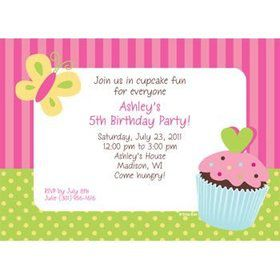 Cupcake Birthday Personalized Invitation (each)