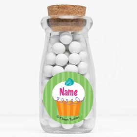 "Cupcake Party Personalized 4"" Glass Milk Jars (Set of 12)"