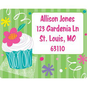 Cupcake Party Personalized Address Label