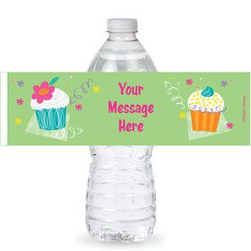 Cupcake Party Personalized Bottle Labels (Sheet of 4)