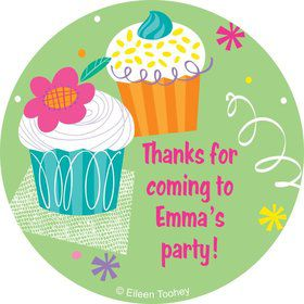 Cupcake Party Personalized Sticker