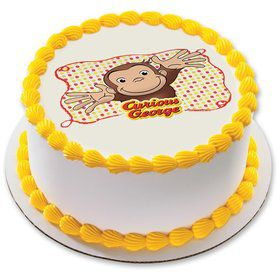 "Curious George Let's Celebrate 7.5"" Round Edible Cake Topper (Each)"