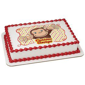 Curious George Let's Celebrate Quarter Sheet Edible Cake Topper (Each)