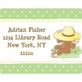 Curious Monkey Personalized Address Labels (sheet of 15)