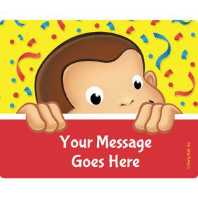 Curious Monkey Personalized Rectangular Stickers (Sheet of 15)