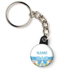 "Cute as a Button Boy Personalized 1"" Mini Key Chain (Each)"