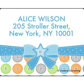 Cute as a Button Boy Personalized Address Labels (Sheet of 15)