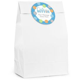 Cute as a Button Boy Personalized Favor Bag (12 Pack)