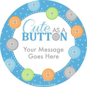 Cute as a Button Boy Personalized Stickers (Sheet of 12)