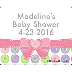 Cute as a Button Girl Personalized Address Labels (Sheet of 15)