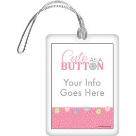 Cute as a Button Girl Personalized Bag Tag (Each)