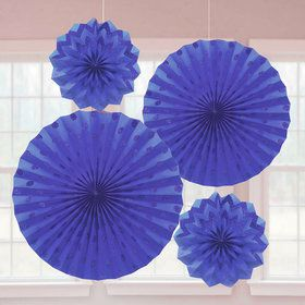 Dark Blue Glitter Paper Fan Decorations (4 Pack)
