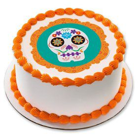 "Day of the Dead 7.5"" Round Edible Cake Topper (Each)"
