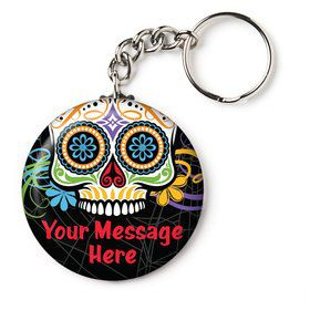 "Day of the Dead Personalized 2.25"" Key Chain (Each)"