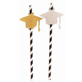 Diamond Grad Hat Straw 8 Pack